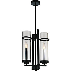 CWI Lighting Sierra 11 inch 2 Light Mini Pendant with Black Finish
