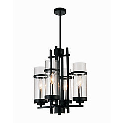 CWI Lighting Sierra 14 inch 4 Light Mini Pendant with Black Finish