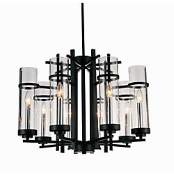 Sierra 26 inch 8 Light Chandelier with Black Finish