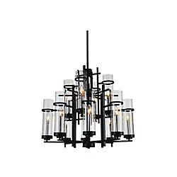 CWI Lighting Sierra 30 inch 12 Light Chandelier with Black Finish