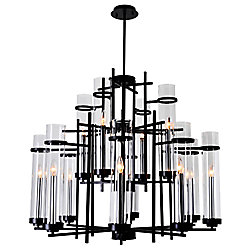 Sierra 38 inch 12 Light Chandelier with Black Finish