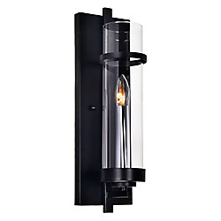 Sierra 5-inch 1-Light Wall Sconce with Black Finish