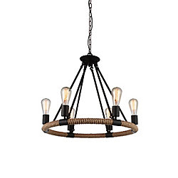 Ganges 25 inch 6 Light Chandelier with Black Finish