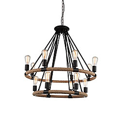Ganges 33 inch 14 Light Chandelier with Black Finish