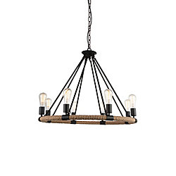 Ganges 33 inch 8 Light Chandelier with Black Finish