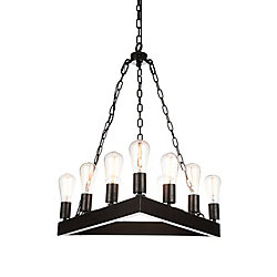 CWI Lighting Teesta 24 inch 9 Light Chandelier with Rust Finish