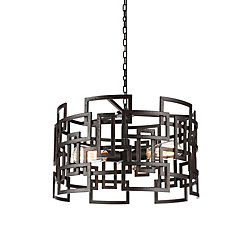 Litani 19 inch 3 Light Chandelier with Brown Finish