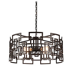 Litani 25 inch 4 Light Chandelier with Brown Finish