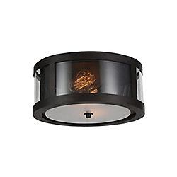 Souris 14 inch 2 Light Flush Mount with Reddish Brown Finish