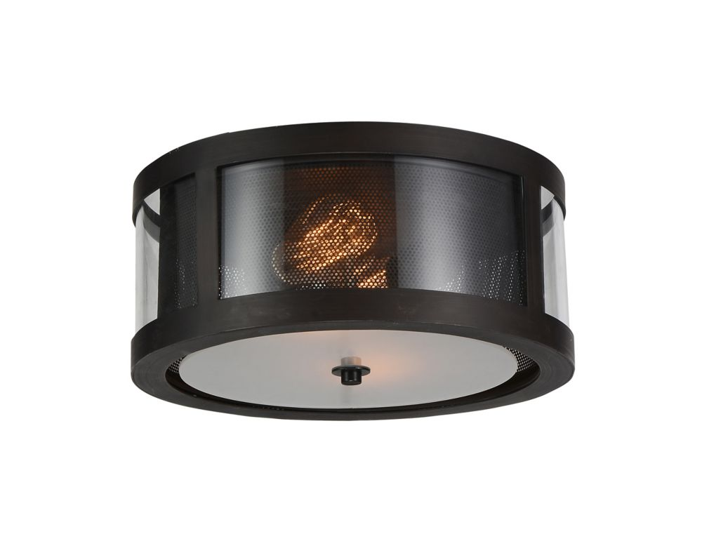 CWI Lighting Souris 14 inch 2 Light Flush Mount with Reddish Brown Finish