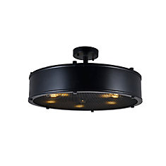 Tigris 20 inch 5 Light Flush Mount with Black Finish