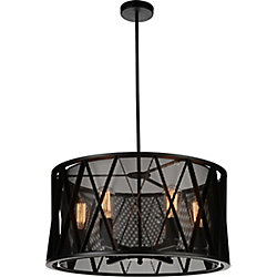 Tapedia 20 inch 4 Light Chandelier with Black Finish