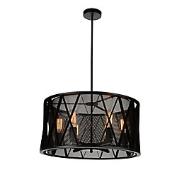 Tapedia 24 inch 6 Light Chandelier with Black Finish