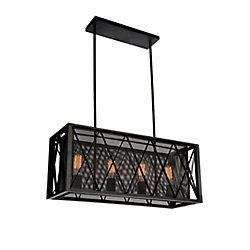 Tapedia 28 inch 4 Light Chandelier with Black Finish