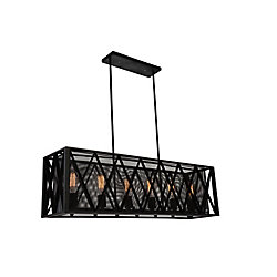 Tapedia 41 inch 6 Light Chandelier with Black Finish