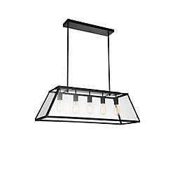 CWI Lighting Alyson 36-inch 5-Light Chandelier with Black Finish