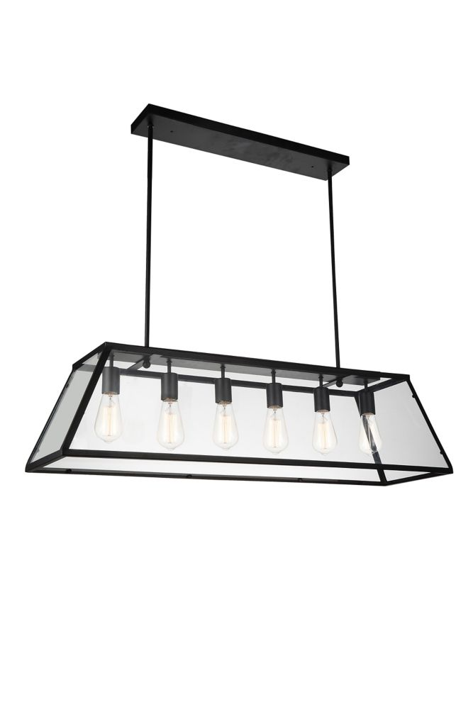CWI Lighting Alyson 42 inch 6 Light Chandelier with Black Finish