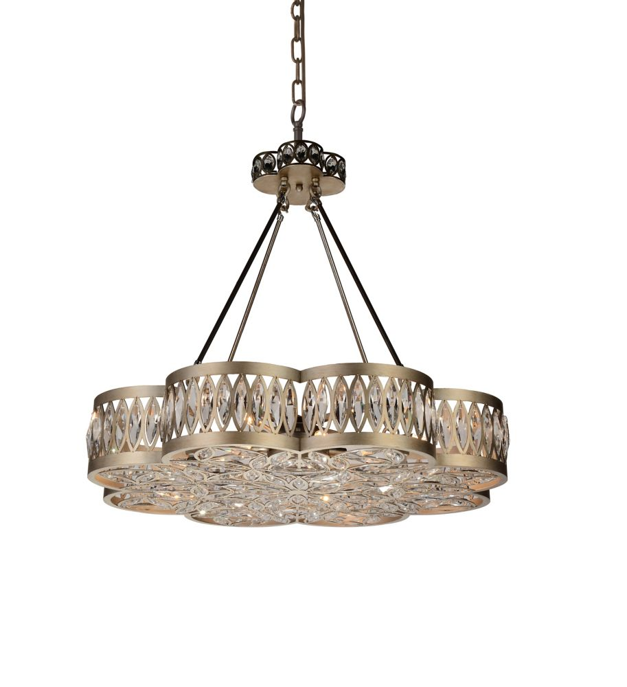 CWI Lighting Nova 31 inch 8 Light Chandelier with Champagne Finish and Clear Crystals