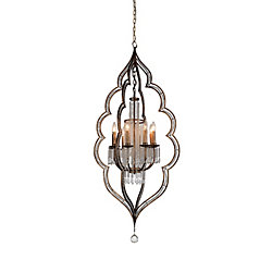 Seine 27 inch 8 Light Chandelier with Champagne Finish and Clear Crystals