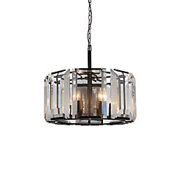 Jacquet 19 inch 8 Light Chandelier with Black Finish and Clear Crystals