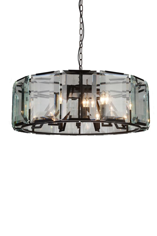 CWI Lighting Jacquet 31 inch 12 Light Chandelier with Black Finish and Clear Crystals