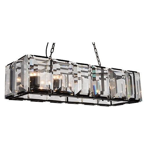 Jacquet 16 inch 12 Light Chandelier with Black Finish and Clear Crystals