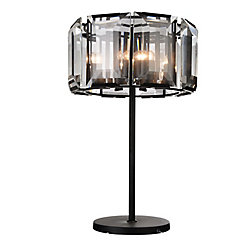 Jacquet 19 inch 8 Light Table Lamp with Black Finish and Clear Crystals