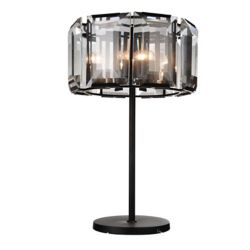 CWI Lighting Jacquet 19 inch 8 Light Table Lamp with Black Finish and Clear Crystals