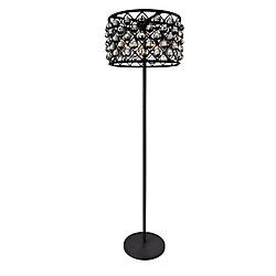 Renous 20 inch 5 Light Floor Lamp with Black Finish and Clear Crystals