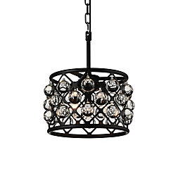 Renous 12 inch 3 Light Mini Pendant with Black Finish and Clear Crystals
