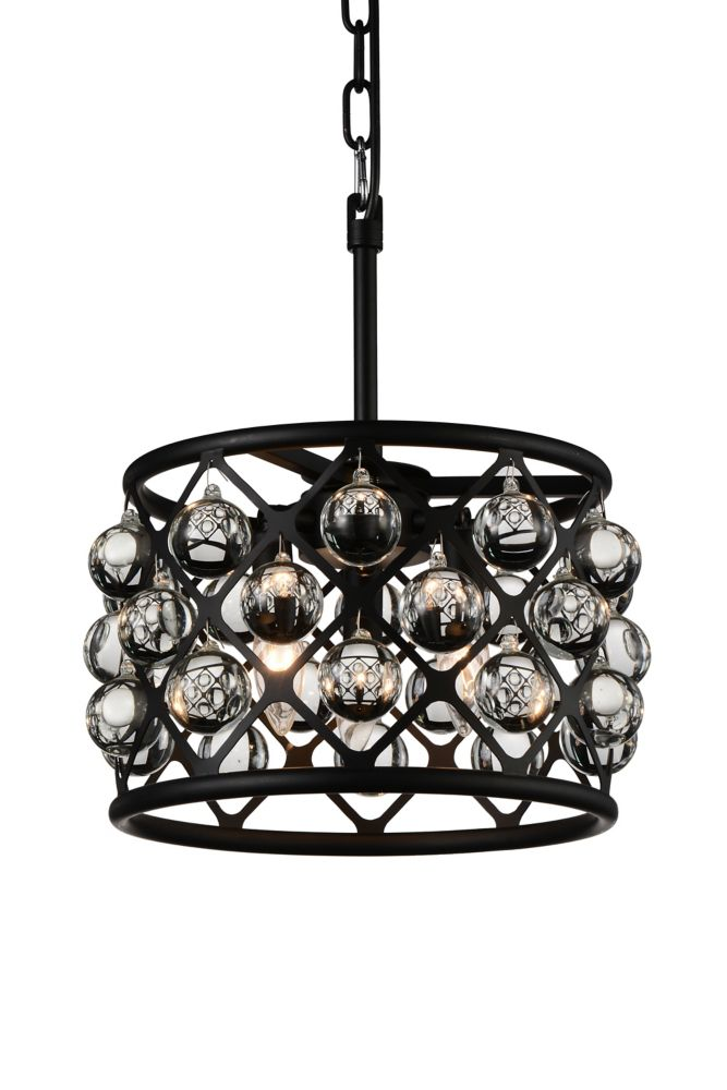CWI Lighting Renous 12 inch 3 Light Mini Pendant with Black Finish and Clear Crystals