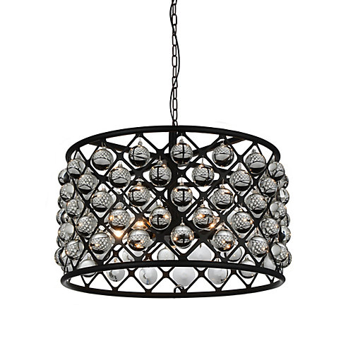 Renous 20-inch 5 Light Chandelier with Black Finish and Clear Crystals
