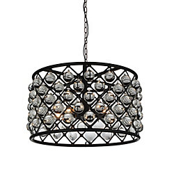 CWI Lighting Renous 20-inch 5 Light Chandelier with Black Finish and Clear Crystals