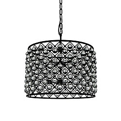Renous 28 inch 10 Light Chandelier with Black Finish and Clear Crystals