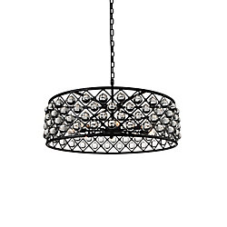 Renous 32 inch 8 Light Chandelier with Black Finish and Clear Crystals