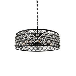 CWI Lighting Renous 32 inch 8 Light Chandelier with Black Finish and Clear Crystals