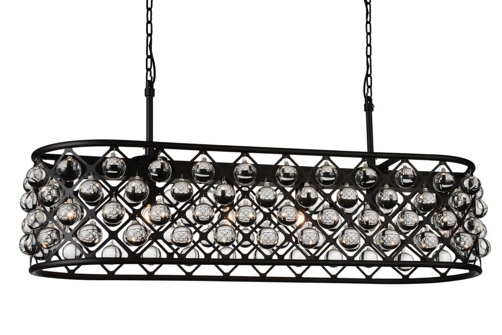 CWI Lighting Renous 13 inch 6 Light Chandelier with Black Finish and Clear Crystals