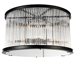Mira 20 inch 6 Light Flush Mount with Black Finish and Clear Crystals