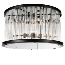 CWI Lighting Mira 20 inch 6 Light Flush Mount with Black Finish and Clear Crystals