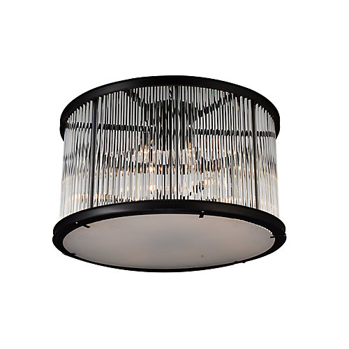 Mira 32 inch 12 Light Flush Mount with Black Finish and Clear Crystals