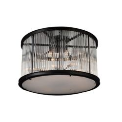 CWI Lighting Mira 32 inch 12 Light Flush Mount with Black Finish and Clear Crystals