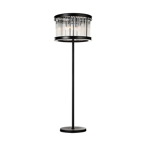 Mira 18 inch 6 Light Floor Lamp with Black Finish and Clear Crystals