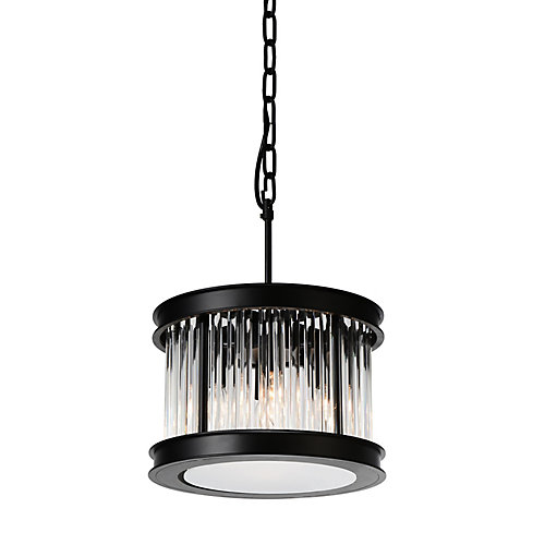 Mira 12 inch 4 Light Chandelier with Black Finish and Clear Crystals