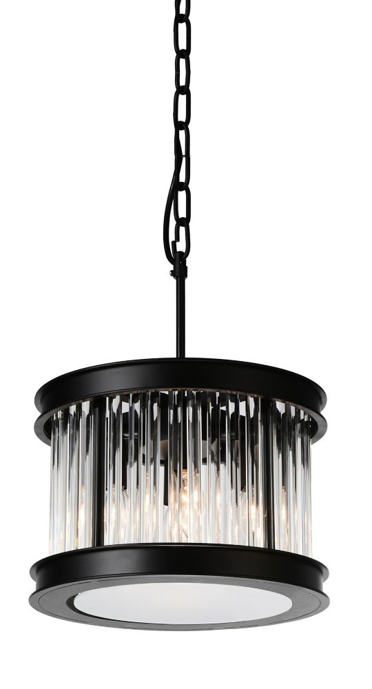 CWI Lighting Mira 12 inch 4 Light Chandelier with Black Finish and Clear Crystals