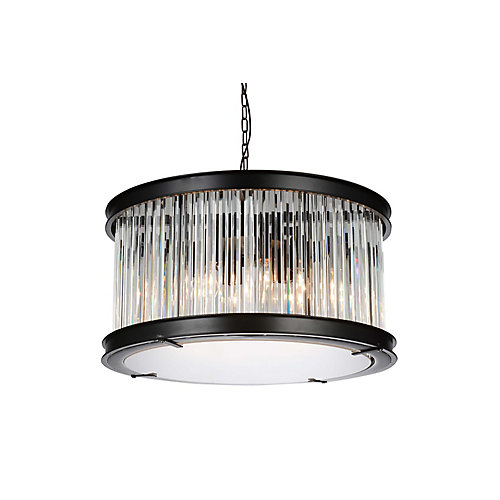 Mira 20 inch 6 Light Chandelier with Black Finish and Clear Crystals