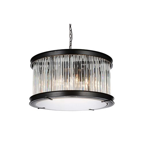 CWI Lighting Mira 20 inch 6 Light Chandelier with Black Finish and Clear Crystals