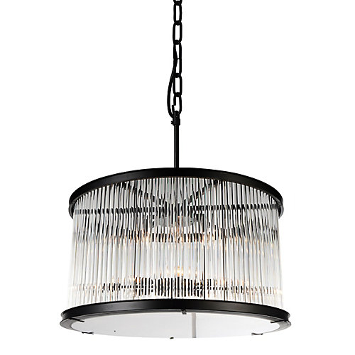 Mira 32 inch 12 Light Chandelier with Black Finish and Clear Crystals