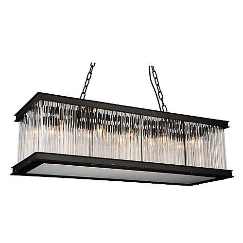 Mira 40 inch 10 Light Chandelier with Black Finish and Clear Crystals