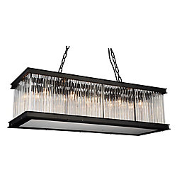 CWI Lighting Mira 40 inch 10 Light Chandelier with Black Finish and Clear Crystals