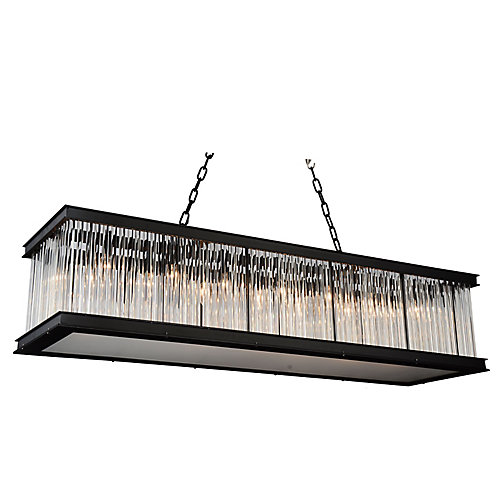 Mira 50 inch 14 Light Chandelier with Black Finish and Clear Crystals